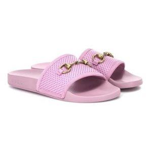 GUCCI Malva Horsebit Leather Pink Slides